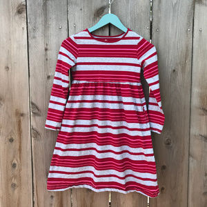 Girl's Lands End Cotton L/S Striped Play Dress